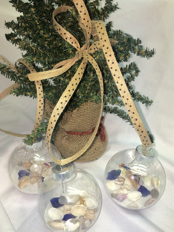 Coastal christmas decor - Seashell Christmas Ornaments 3 Seashells Sea Glass Sand Beach Theme Christmas Ornaments Holiday Decor Ornaments Coastal