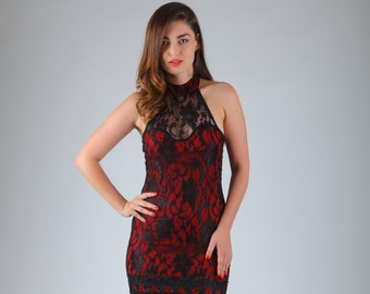Black Lace Short Dress, Red Lace Dress, Prom Dress, Special Occasion Dress