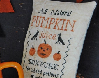 Pumpkin Juice / Primitive cross stitch pattern /PDF