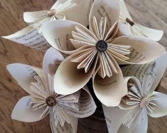Book Paper Flowers,Book Flowers, Tea Stained Paper Flowers, Book Page Flowers, Paper Flower Bouquet