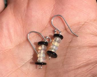 Onyx  and opal earrings