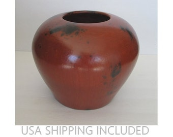 Large Pot/Vase Hand Built Pit Fired Red Clay Smoke-Marked