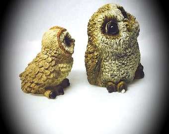 vintage Stone Critter Littles pair of owl figurines made in the USA miniature resin owls