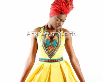 Robe plissé wax Addis-Abeba jaune