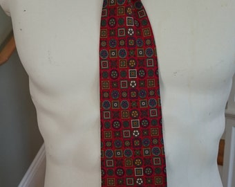 Vintage Christian Dior Monsieur Tie/Printed Silk Necktie/Made in USA/Designer Necktie