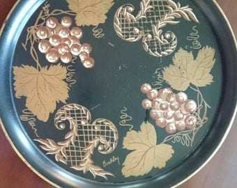Vintage Tole Tray Signed Buckley/ Pilgrim Art/Cocktail Tray