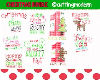 Christmas SVG Cut File Bundle - PNG Included - 9 Files- - Vinyl- Cricut- Silhouette Cameo- Diy projects-