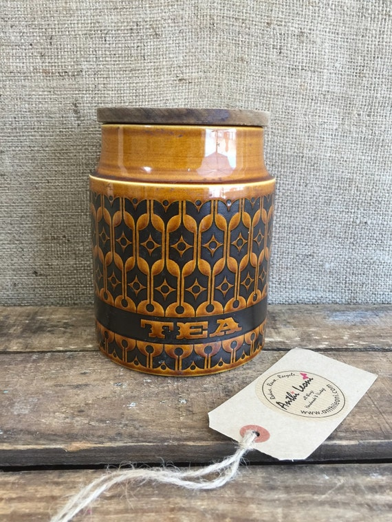 HORNSEA TEA JAR - Vintage Retro Hornsea Saffron England Glazed Storage Jar with Cork Lid / 1970s English Ceramic Honey Glaze Storage Pot