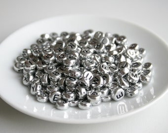100 Silver Alphabet Beads - 7mm Round Letter Beads