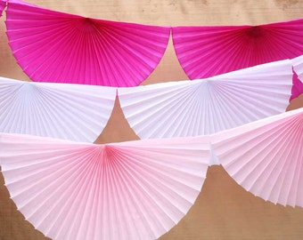 Set of 3 tissue pinwheel garlands in white, light pink, and fuchsia. Tissue paper scallop bunting.  Fan bunting. Rosette tissue garland.