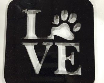 Paw Print Love Coaster