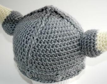 Viking Hat, Crochet Viking Hat, Baby Viking Hat, Viking Helmet, Viking, Crochet Viking Baby Hat, Child Viking Hat, 6- 9 month size