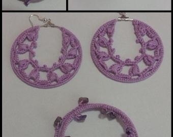 Handmade crochet earings and bracelet