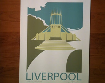 Metropolitan Cathederal, Liverpool, Hope Street, Travel Poster, thejonesboys, Liverpool prints