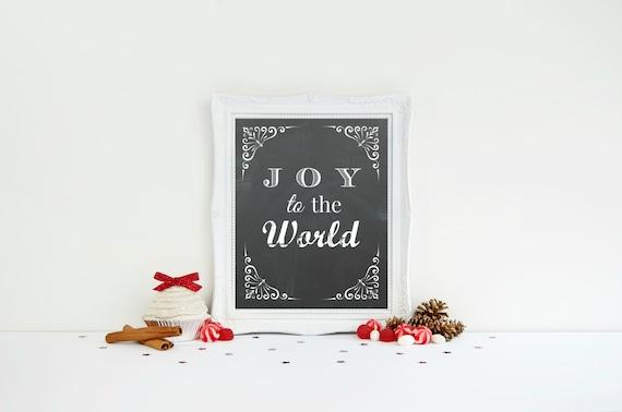 Christmas Word Art, Joy to the World, Chalkboard Christmas Print, Printable Holiday Lyrics, Chalkboard Word Art, Teacher Gift