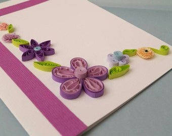 Handmade quilled floral card