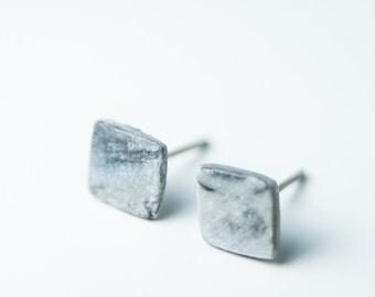 Mens earrings, earrings for men, marble earrings, tiny earrings, ceramic earrings, porcelain earrings, marble stud earrings, matte earrings