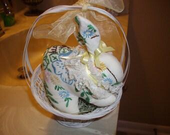 Vintage Embroidered Pillowcase Rabbit