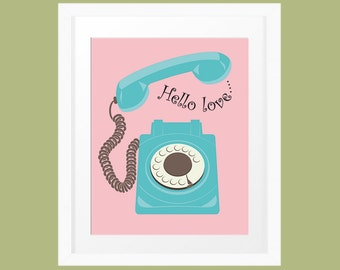 Hello Love Retro Telephone vector art print in pink and aqua. Printable wall art INSTANT DOWNLOAD