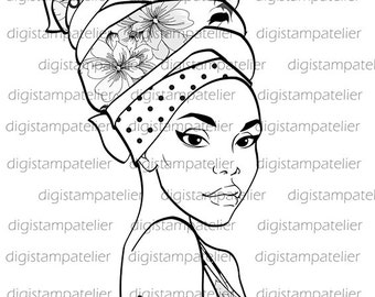 African Beauty. INSTANT DOWNLOAD Digital Digi Stamps.