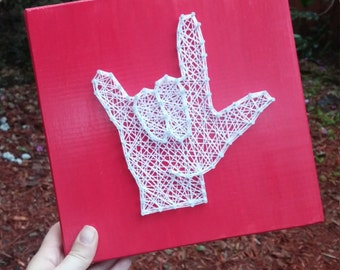 American Sign Language I Love You String Art