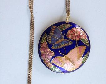 Long pendant necklace, cloisonne pendant necklace, cloisonne pendants,  cloisonné enamel pendant, long cloisonné pendant necklace,  N80