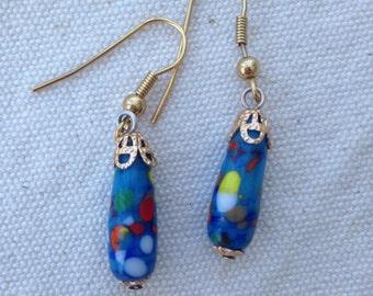 Vintage Millefiori bead earrings, vintage bead earrings, dangle earrings, millefiori earrings, Millefiori bead earrings, vintage earrings