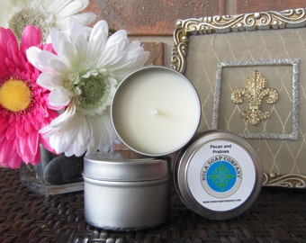 Pecan and Pralines Scented Soy Travel Candle 4 oz Metal Tin