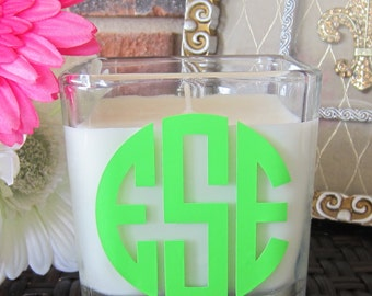 Monogrammed Three Initials  Scented Soy Candle 10 oz Square (in a variety of colors and fragrances)