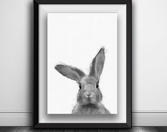 Rabbit Print, Nursery Rabbit Wall Art, Woodlands Decor, Printable Art, Black and White Animal Print, Black and White Nursery Woodlands Bunny