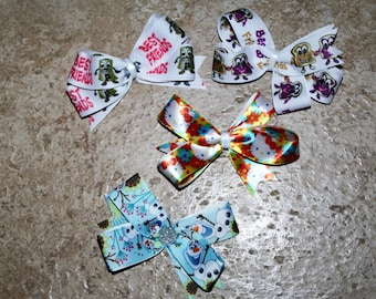 Miniature Customizable Hair Bows- Clips on the Back