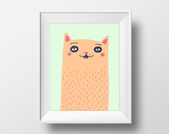 SALE -  Orange Kitty, Cat, Tabby Cat, Animal Illustration, Cartoon Art Sketch, Oddity, Baby Nursery, Pastel Color, Kid Playroom