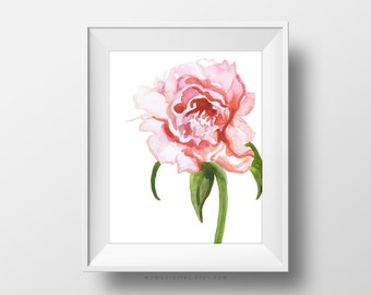 SALE -  Peony Flower, Handpainted Watercolor, Art Poster Print, Pink Ombre, Baby Girl Nursery, Office Space, Dorm, Wall Decoration