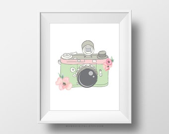 SALE -  Floral Camera, Pastel Art Poster Print, Shabby Chic, Vintage Camera, Old Fashioned, Mint Green Light Pink, Baby Nursery, Dorm