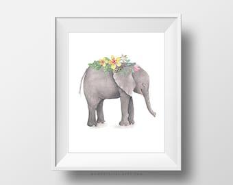 SALE -  Watercolor Elephant, Baby Animal, Floral Flower Bouquet, Baby Girl Nursery, Handpainted Cartoon Illustration, Wall Art Print