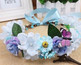 "The ""Evie"" Blue Floral Crown"