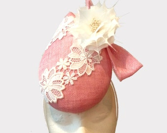 Handmade Spring Race fascinator, pink millinery percher with lace