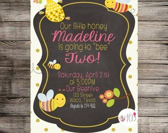 Honey Bee Invitation, Bee Birthday Invitation, Honey Bee Birthday Invitation, Childs Birthday, Summer Birthday- Printable Invitation
