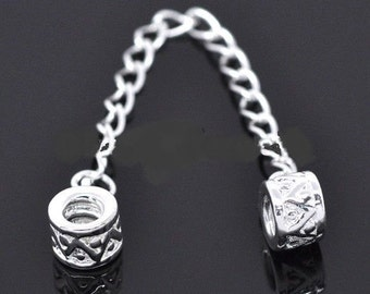 3 Silver Tone Safety Chain Fits European Style Bracelets 9cm - 17G