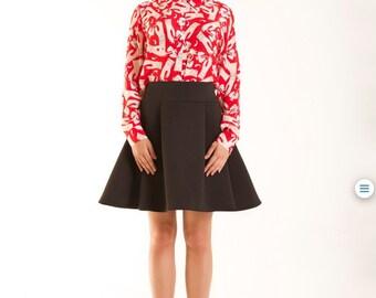 Black spandex pleated skirt