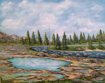 "gift, Landscape painting of Yellowstone Park  ""After the Fire"" National Park, oil painting, original art, traditional art"