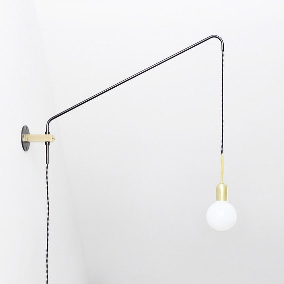 brass and oxidized steel minimal modern wall lamp potence. Black Bedroom Furniture Sets. Home Design Ideas