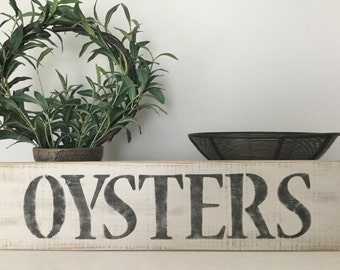 """Reclaimed wood """"OYSTERS"""" sign, weathered oysters sign, hand painted oysters sign, vintage look oyster sign, rustic oysters sign"""