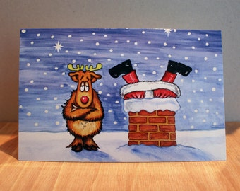Santa stuck in the chimney 2 the sequel, exclusive design Christmas card