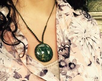 Green Jasper stone pendant necklace