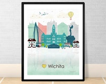 home decor stores in wichita ks popular items for kansas city skyline on etsy 13372
