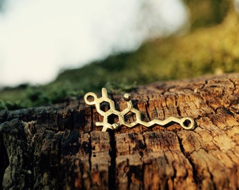 THC Necklace small, THC Molecular Structure, Brass/ Silver Coated
