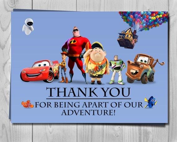 Pixar Thank You Card - Customizable characters - Digital Invite