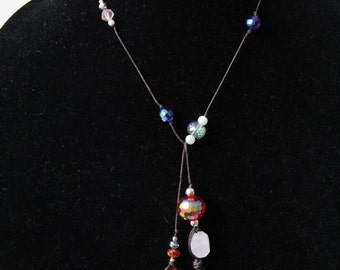 Handmade Assorted Bead and Cord Lariat Necklace