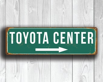 TOYOTA CENTER SIGN, Vintage style Toyota Center Sign, Toyota Center Stadium Sign, Toyota Center, Home of Houston Rockets, Basketball Gifts